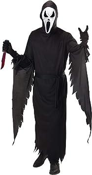 White Scream Horror Maschera /& Cappuccio Halloween Adulto Costume Spaventoso una taglia UK