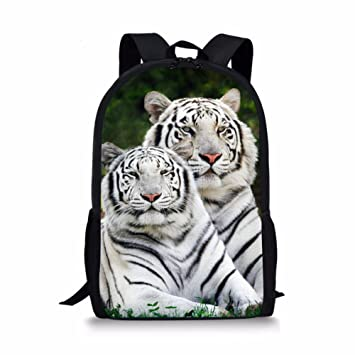 f023455d5bd7 Dellukee School Bags For Teens Cute Stylish Daypack Backpack White Tiger  Print