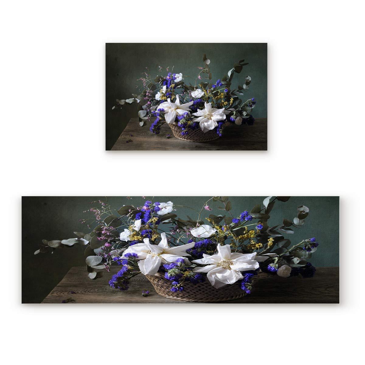Flower96FIY1235 19.7x31.5In+19.7x47.2In Non-Slip Indoor Door Mat Entrance Rug Rectangle Absorbent Moisture Floor Carpet for Vintage Brown Jacquard with White Background Doormat 23.6x35.4In+23.6x70.9In