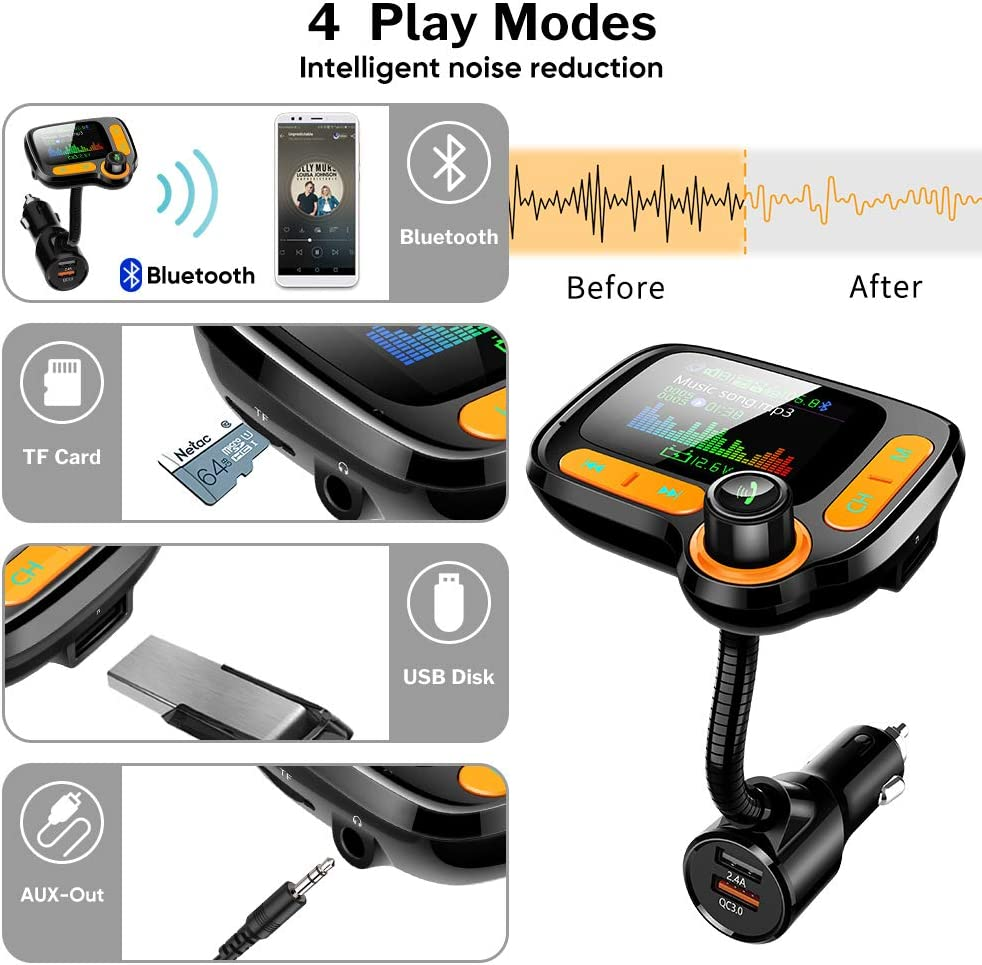 iPad iOS Android Phone TwiHill C86 Color Screen Car Calling Hands Free Adapter Bluetooth FM Transmitter for Calls/& Music Dual USB Car Charger Support TF Card /& USB Flash Drive Compatible with iPhone HTC Samsung Galaxy