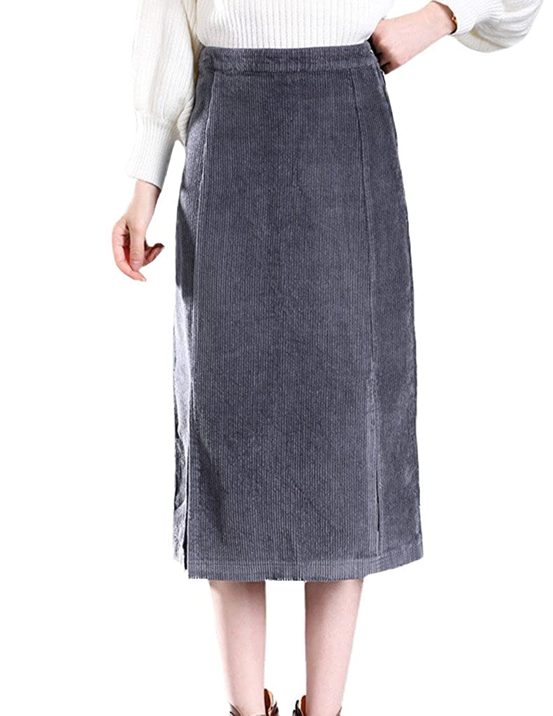 4727bea93298 Zanlice Women's High Waist Cotton Corduroy Slits Front Pencil Skirt XS-1X  at Amazon Women's Clothing store: