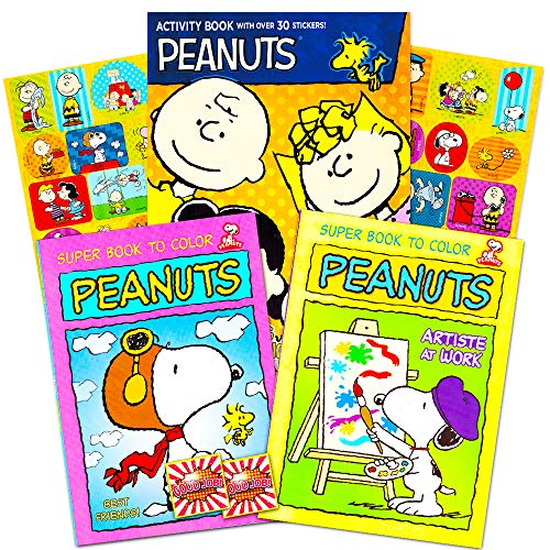 Peanuts Gang Coloring Book Set -- 3 Coloring Books Featuring Snoopy, Charlie Brown and More (Peanuts Party Supplies)