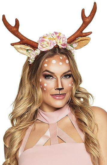 shoperama rentier geweih mit blumen rehkitz kitz bambi ren reh hirsch kostum zubehor horner
