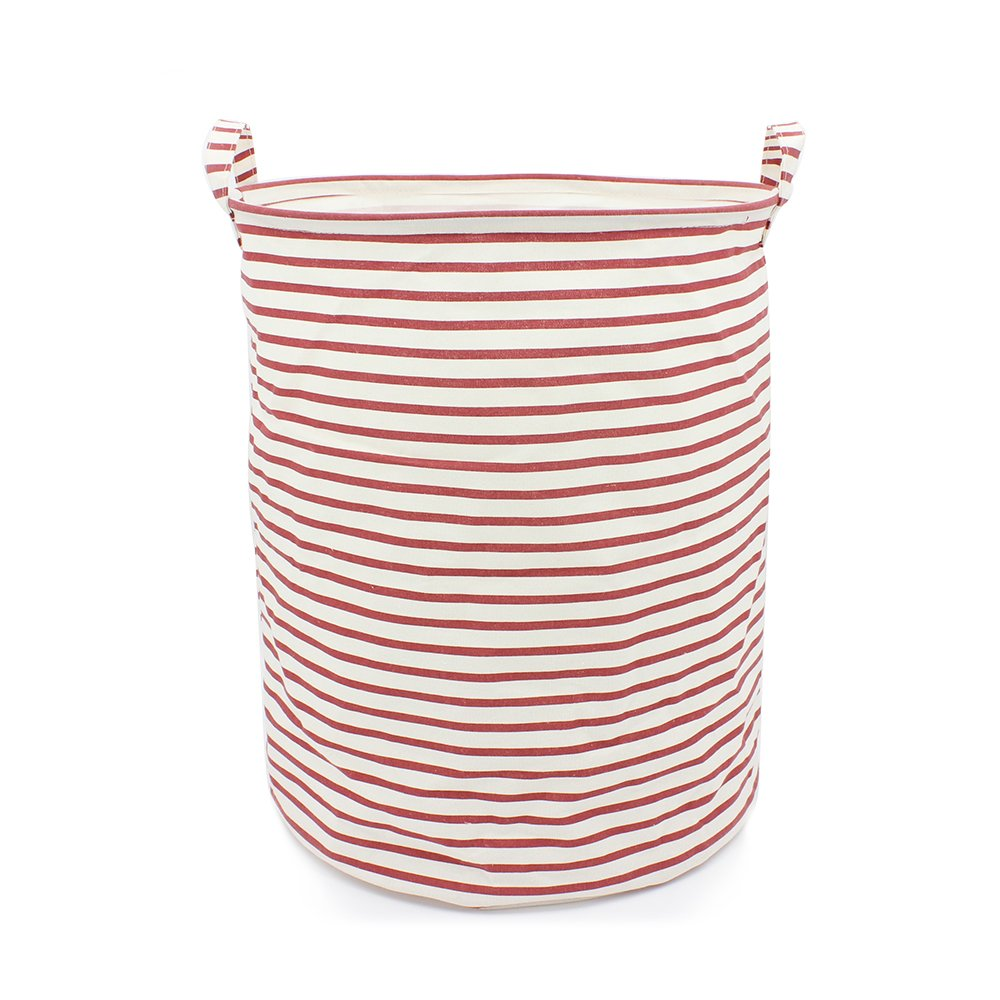"19.7"" x 15.7"" Large Laundry Basket Waterproof Coating Cotton Linen Laundry Hamper Bucket Collapsible Cylindric Canvas Storage Basket with Handles (Red & White Stripe)"
