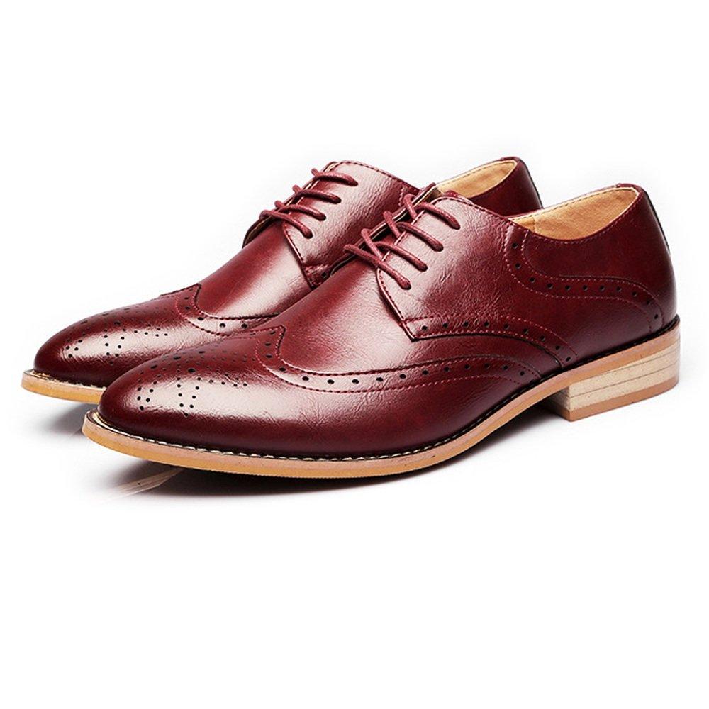 JUJIANFU-Bequeme Schuhe Mode Männer Business Brogue Smoking Kleid Schuhe Matte Wingtip Hohl Schnitzen Echtes Leder Lace Up Gefüttert Oxfords  | Bekannt für seine gute Qualität