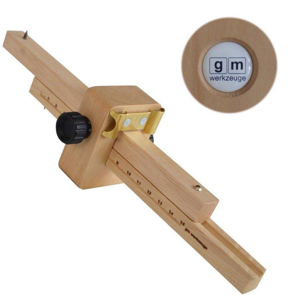 GM Streichmaß 150 mm aus Weißbuche mit Kurvenanschlag, Anreißmaß Streichmass Anreißwerkzeug aus Holz Original GM - Qualität GM Werkzeuge
