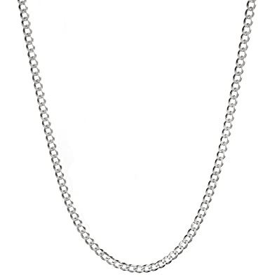 sterling round curb silver chain necklace sn