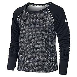 Nike Epic Flash Crew Fleece Training Shirt Girls Large White/Black
