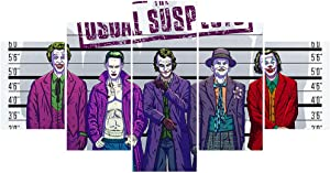 FUNHUA Joker Poster Unframed 5 Piece DC Movie Super Villain Canvas Painting Print for The Theme Room Boy Room Home Wall Decor Art (No Frame)