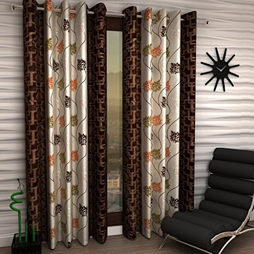 Super India Floral 1 Piece Eyelet Polyester Door Curtain – 7ft , Brown
