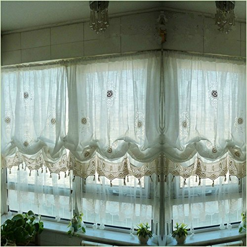 (HOLY HOME Christmas Décor Pastoral Romantic Sheer Curtain Pull-up Jabots Cascade Handmade Crochet Hook Hollow-Out Flowers Design 57 in by 69 in Off-White)