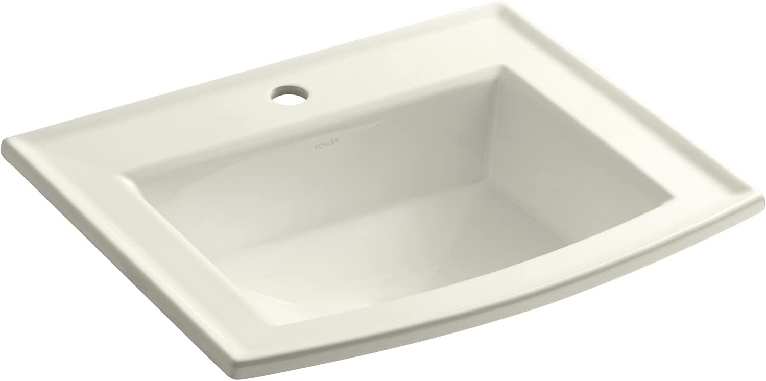 KOHLER K-2356-1-96 Archer Self-Rimming Bathroom Sink with Single-Hole Faucet Drilling, Biscuit