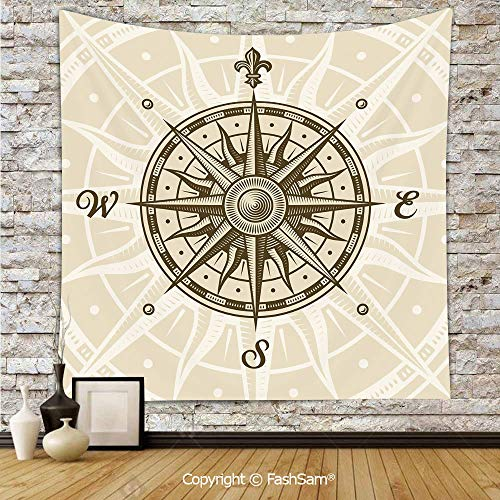 FashSam Tapestry Wall Blanket Wall Decor Sun Motifs Backdrop with Sepia Windrose Directions East West North South Navigation Decorative Home Decorations for Bedroom(W51xL59) -