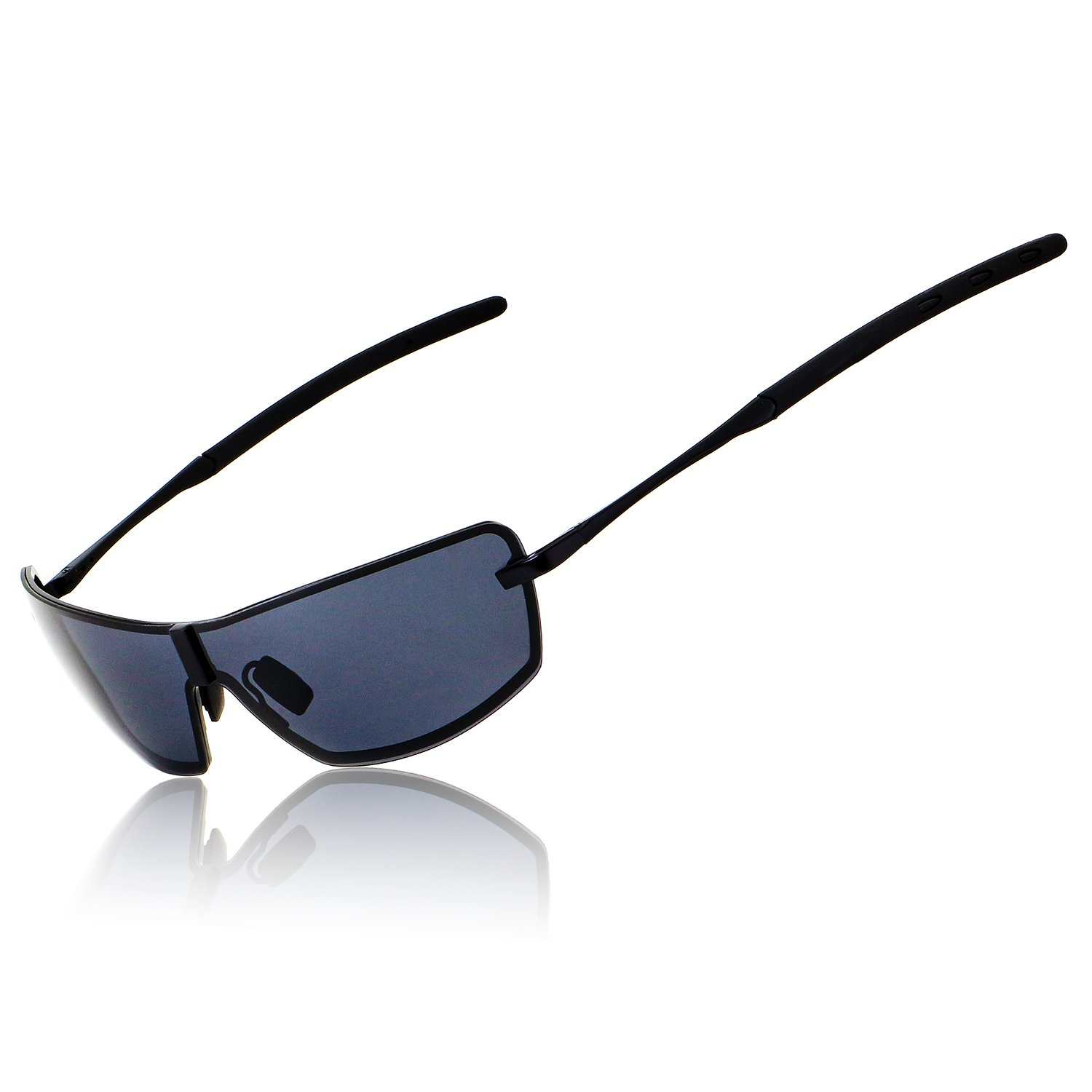 Ronsou Mens UV400 Polarized Sunglasses Mirrored For Driving Fishing Golf Outdoor with Gift Case black frame/gray lens