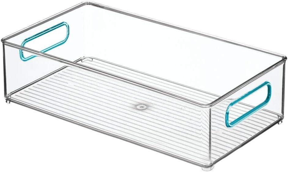 boite pour frigo pratique pour ranger les aliments mDesign caisse de rangement /à poign/ées en lot de 2 transparent et bleu boite en plastique sans BPA pour le placard ou le r/éfrig/érateur