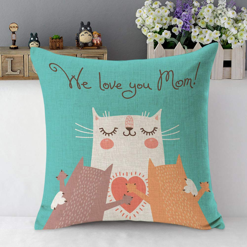 Mugod We Love You Mom Throw Pillow Case Sweet Happy Mom Cat and Cute Kitten Hug Heart Blue Cotton Linen Square Cushion Covers Standard Pillowcase Couch Sofa Bed Men//Women//Boys//Girls Room 18x18 Inch