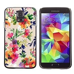 LECELL--Funda protectora / Cubierta / Piel For Samsung Galaxy S5 SM-G900 -- Flower Bouquet Pattern Wallpaper --