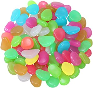200Pcs Premium Luminous Stones Glow in The Dark Garden Pebbles Rocks for Fish Tank Aquarium Decorations, Garden Stones, Pots, Plants, Decoration, Kids Crafts, STEM Learning, Glow Stones (Mix Color)