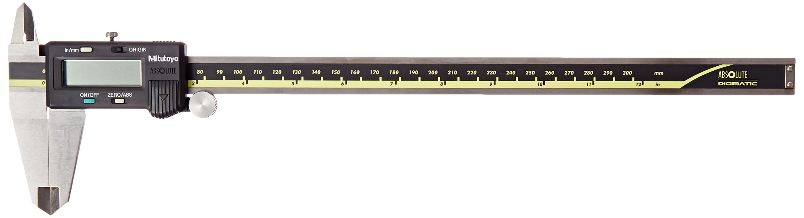 Mitutoyo 500-193 Absolute Digital Caliper, Stainless Steel, Battery Powered, Inch/Metric, 0-12'' Range, +/-0.0015'' Accuracy, 0.0005'' Resolution