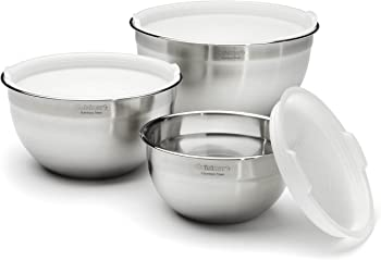 Cuisinart Set of 3 CTG-00-SMB Stainless Steel Mixing Bowls with Lids