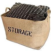 "OrganizerLogic Storage Bins - 22"" x 15"" x 10"" Toy Box - Extra Large Storage Basket for Organizing Laundry, Clothes, Blankets, Pillows, Kitchen, Baby, Kids Room, Toys Bin- Jute Storage Baskets"