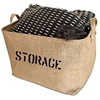 OrganizerLogic Burlap Storage Organizer Basket - Heavy Duty Storage Basket - Perfect Storage Jute Basket for Laundry, Shoes and Kids Toys - 17