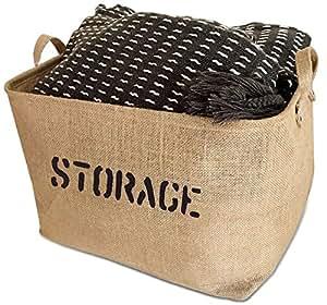 "OrganizerLogic Storage Bins - 17 x 13 x 10"" - Large Jute Storage Baskets - Help You Organize Toys, Laundry, Clothes, Baby Nursery, Kids Rooms, Basket for Toy Box"
