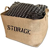 "Jute Storage Bin 17 x 13 x 10"" large enough for Toy Storage - Storage Basket..."