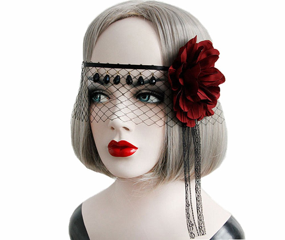 Sunling SL Victorian Gothic Headband Choker Necklace Bracelet Mask Earring Costume Set HY-MJ-37