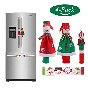MYFAMIREA Christmas Refrigerator Handle Covers Set of 4, Santa Claus Snowman Kitchen Appliance Handle Covers Microwave Oven Dishwasher Fridge Door Handle Covers Protector for Christmas Decorations