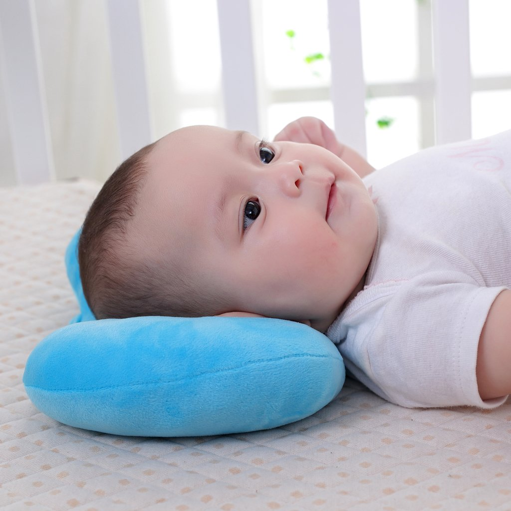 KAKIBLIN 2 in 1 Organic Cotton Baby Breastfeeding Pillow Ultra Soft Nursing Pillow Anti-Flat Head Syndrome Protective Sleeping Pillow Blue