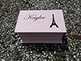 Custom engraved wooden music box, jewelry box, with the Eiffel tower and your choice of name on top, color and song