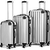 Set valigie Trolley 3 pezzi color argento Valigie rigide leggere e maneggevoli con ruote piroettanti