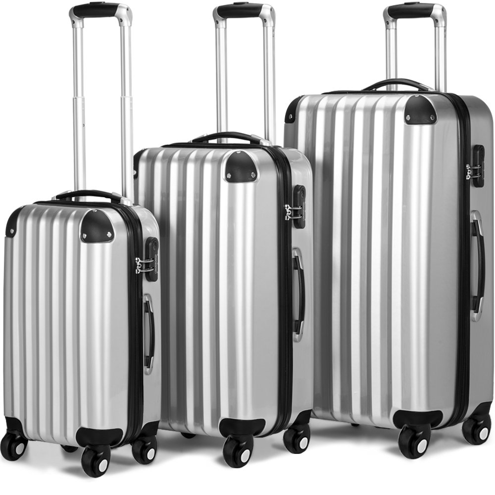 3 Piece Extra Strong ABS Luggage Set Hard-shell Suitcase Trolley 4 Wheel Spinner Travel Light-Weight 3 Sizes Black Silver 103960