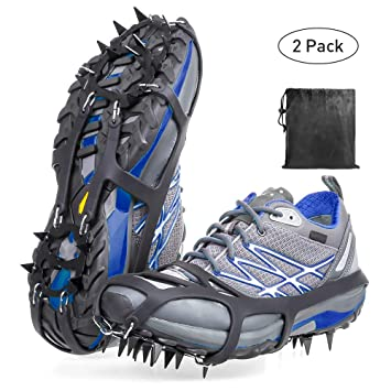 LIKE company Crampons Ice Snow Grips Anti-Slip Ice Cleats Walk Traction Cleats with 18 Manganese Steel Spikes Safe Protect for Hiking Fishing Walking Climbing Jogging Large