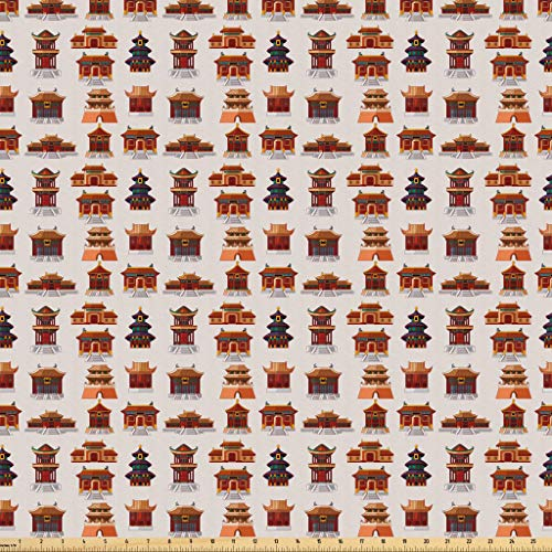 Lunarable Ancient China Fabric by The Yard, Cartoon Style Antique Designed Houses Pattern Ethnic Asian Design Elements, Microfiber Fabric for Arts and Crafts Textiles & Decor, 5 Yards, Multicolor from Lunarable