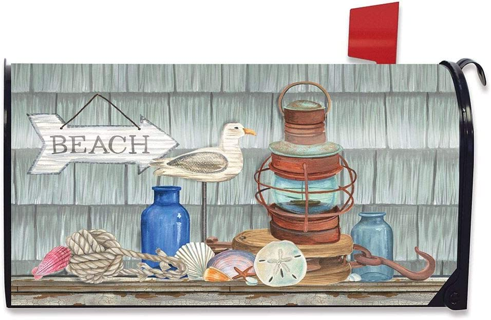 Beachy Vibes Summer Large Mailbox Cover Nautical Rustic Oversized Briarwood Lane