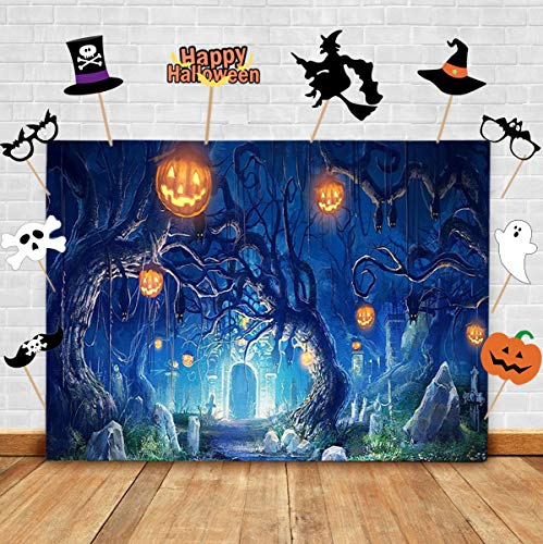 TJ Halloween Nightmare Party Photo Background and Studio Props DIY Kit. Magic Castle Pumpkin Vampire Photography Backdrop Booth,Baby Shower Kids Cake Table Decoration Supplies