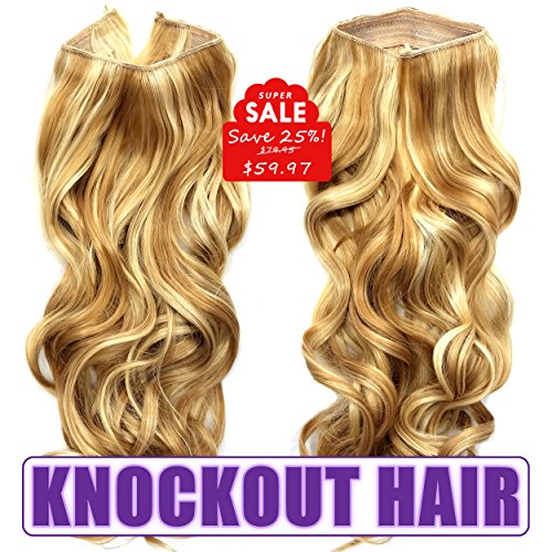 Knockout Hair 20-Inch Fiber Wavy Hair Extensions, 150 Grams,  #27HY/86 - Dark Golden Blonde/Lt Bld Mix