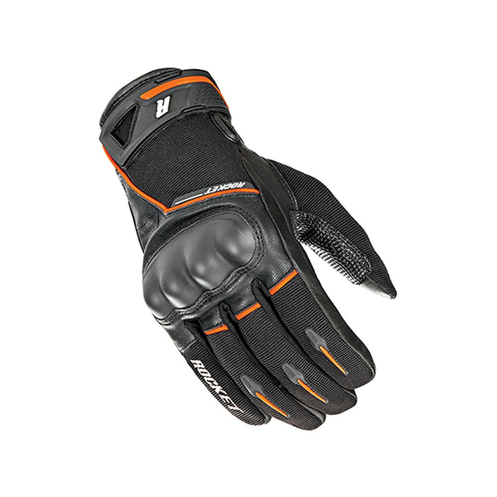 Joe Rocket Supermoto Mens On-Road Motorcycle Leather Gloves - Black/Orange / 2X-Large
