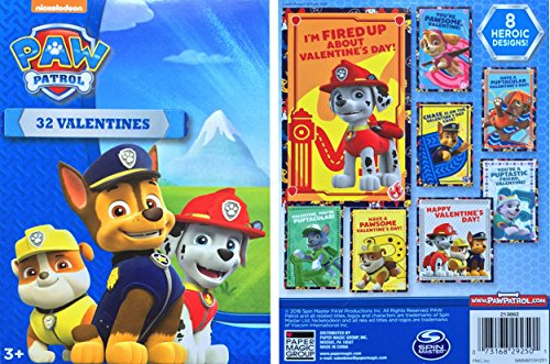 Paw Patrol 32 Valentines Cards 8 Heroic Designs Featuring Chase Marshall Rubble Skye Zuma Rocky Everest - Nickelodeon Spin Master Paper Magic