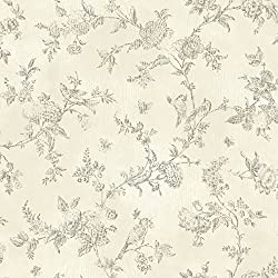 Chesapeake CCB02193 French Nightingale Toile Wallpaper, Cream