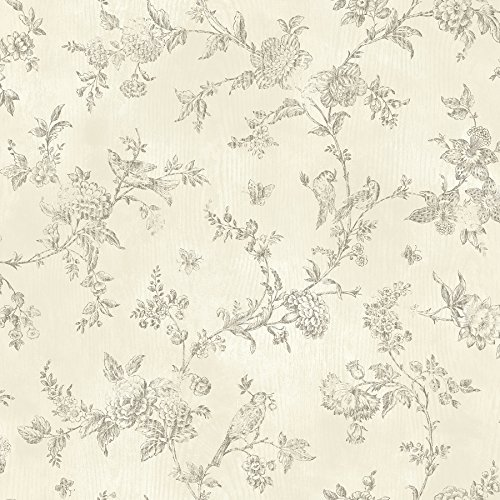 Chesapeake CCB02193 French Nightingale Toile Wallpaper, Cream (Wallpaper Vintage Toile)