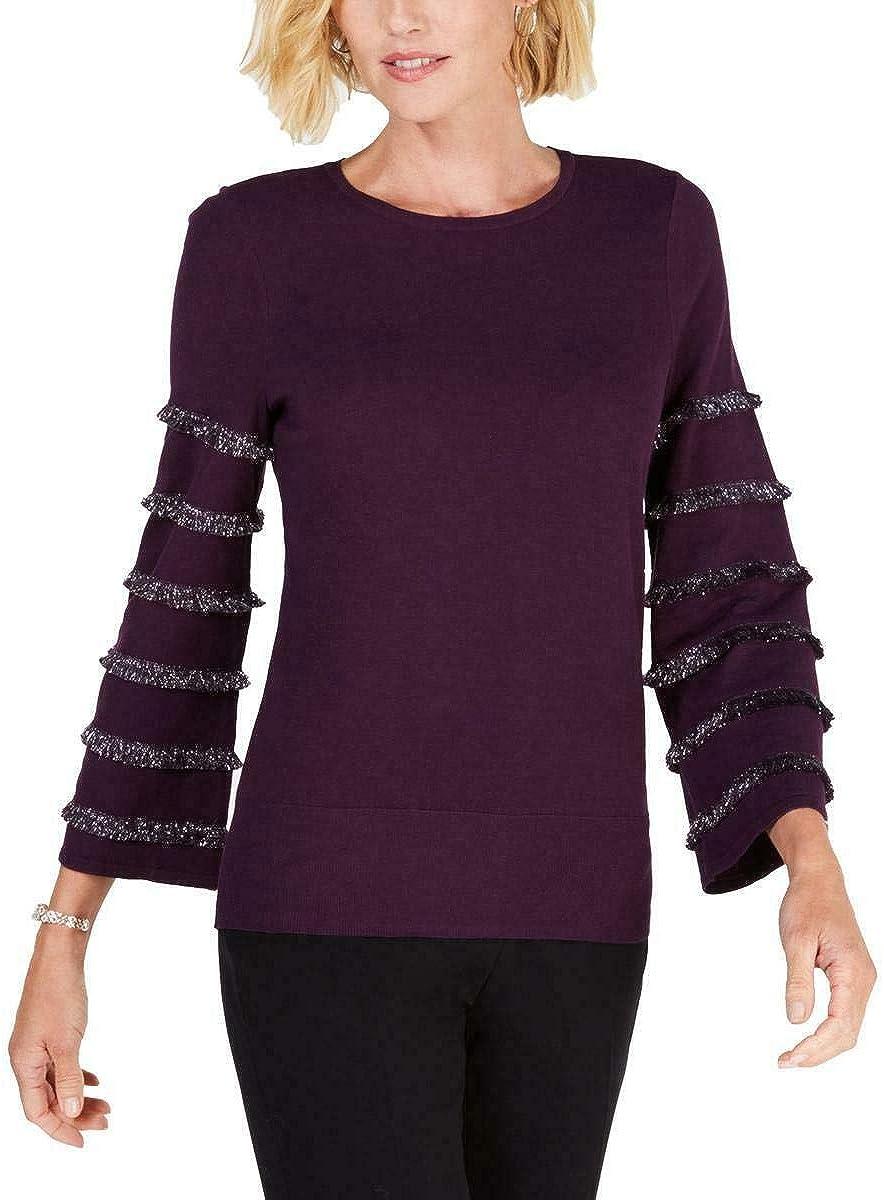 Alfani Max 72% OFF Max 62% OFF Women's Tiered Fringe Long Sweat Pullover Crewneck Sleeve