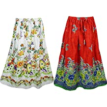 Mogul Womens Long Skirts Floral Printed Hippie Gypsy Flare Maxi Skirts Wholesale Lot Of 2