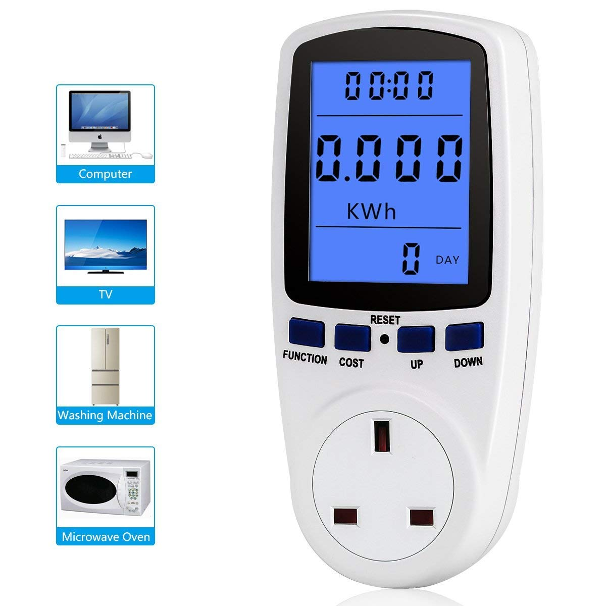 YOUTHINK UK Plug Power Meter Electricity Usage Monitor Home Energy Volt Amps Watt Analyzer with Digital LCD Display Overload Protection