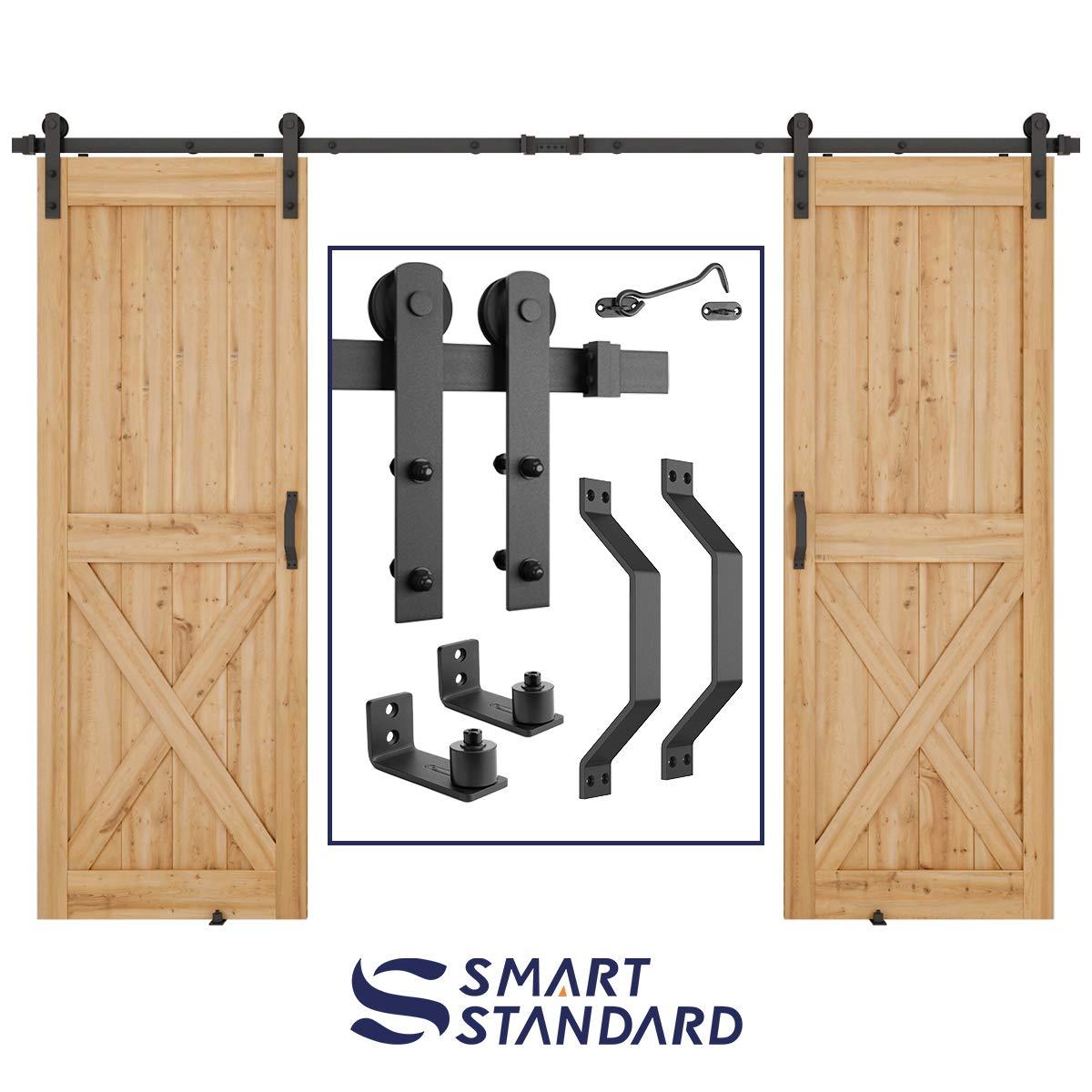 10 FT Heavy Duty Double Gate Sliding Barn Door Hardware Kit, 10ft Double Rail, Black, (Whole Set Includes 2x Pull Handle Set & 2x Floor Guide & 1x Latch Lock) Fit 30'' Wide Door Panel (I Shape Hangers)