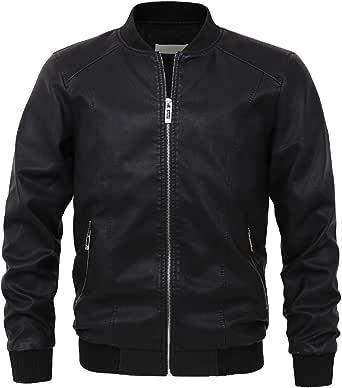 chouyatou Men's Essential Sports Zip Lightweight Pu Leather Varsity Bomber Jacket