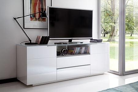 Dreams4Home mueble para cesena de alto brillo de colour blanco lacado de cristal, TV-banco de madera, TV-armario, cómoda, televisión, sala de estar: Amazon.es: Hogar