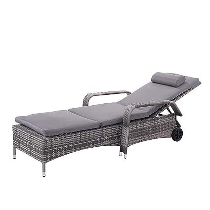 TANGKULA Patio Chaise Lounge Chair Armrest Headrest U0026 Wheels Adjustable  Backrest Ergonomic Shape Portable Cushioned Lounger